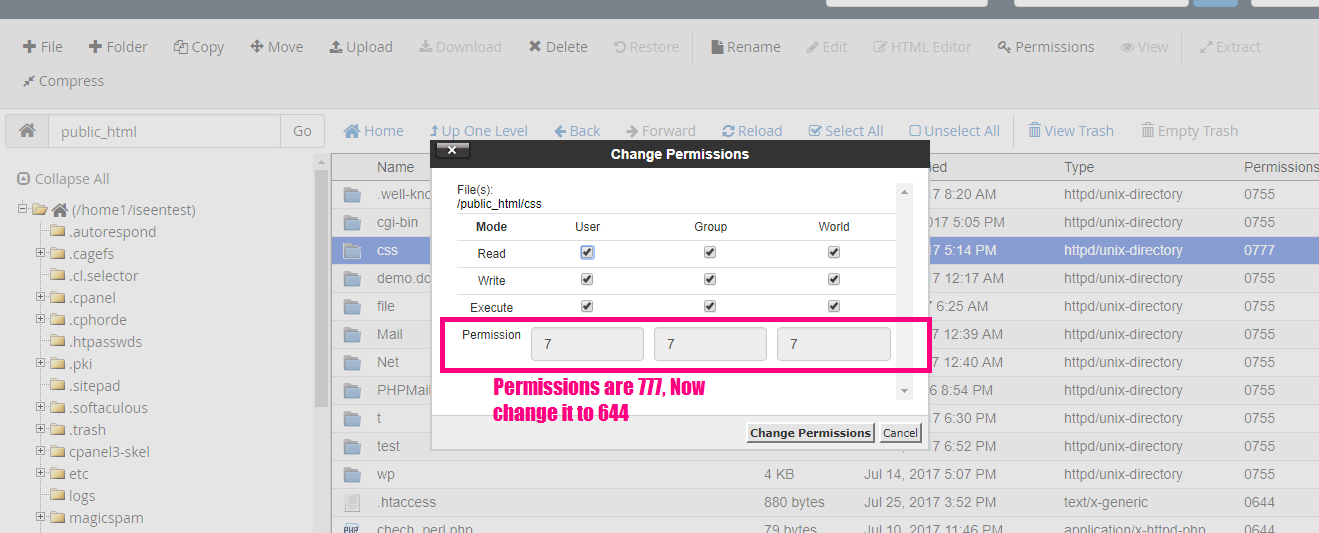 cpanel file manager change permissions